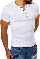 Young & Rich Herren Uni feinripp T-Shirt mit Knopfleiste & tiefem Ausschnitt deep V-Neck einfarbig big buttons 2003, Grösse:M;Farbe:Weiß