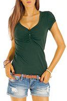 Bestyledberlin Damen T Shirt Oberteile Basic Top Shirt Stretch kurzarm mit Knöpfen t01p dunkelgrün