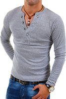 MT Styles Longsleeve mit Knopfleiste T-Shirt BL-624 [Grau, S]