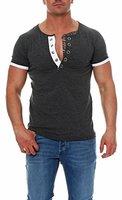 malito Sweatshirt im Classic Look T-Shirt V-Ausschnitt Kurzarm 2-Lagen Slim Fit Rundhals Figurbetont Training Kontrast Sweatshirt Sportshirt Skinny 2761-1 Herren grau XL
