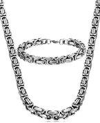 Jstyle Edelstahl Ketten Set von Halsketten und Armketten für Herren silberweißen Armbändern 8mm breit und 21,5 cm für Armband, 55cm für Halskette
