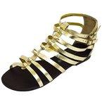 Damen Flach Gold Leder Gladiator Riemchen Sandalen Schuhe Peep-Toe Pumps Größen 5-8 - Gold, 8 UK / 41 EU