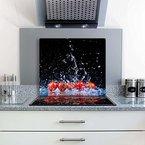 Gsmarkt | Herdabdeckplatte Schneidebrett Spritzschutz 60x52 | Bild auf Glas | Sicherheitsglas Gehärtetes Glas Bild | Motiv Tomate
