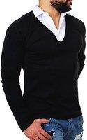 Rerock Herren 2in1 Longsleeve Hemd Kragen Shirt Pullover langarm mit tiefem V-Ausschnitt einfarbig slimfit stretch, Grösse:M;Farbe:Schwarz