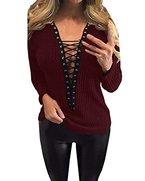 StyleDome Damen Dekolletee V-Ausschnitt Langarm Schulterfrei Pullover Strickwaren Elektroschocker Tops Weinrot# 36