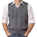 DD.UP Herren Business Pullunder Slim Fit Vest Stricken V-Ausschnitt Argyle Muster Wolle Weste