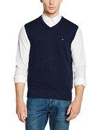 Tommy Hilfiger Herren Pullunder Pima Ctn Cashmere Vest CF, Blau (Navy Blazer Htr 289), Medium