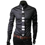 Herren Shirt Xinan Männer Luxus Business Stylische Slim Fit Langarm Shirt (XL, Schwarz)