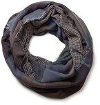 styleBREAKER warmer Karo Muster Loop Schlauchschal mit Fransen, Unisex 01018037, Farbe:Grau-Blau