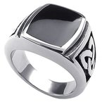 KONOV Schmuck Herren-Ring, Edelstahl, Irischen Dreiecksknoten Trinity Keltisch Knoten Siegelring, Schwarz Silber - Gr. 65