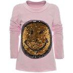 BEZLIT Mädchen Wende Pailletten Long Shirt Bluse Pullover Langarm Sweat Shirt 20983, Farbe:Rosa;Größe:152