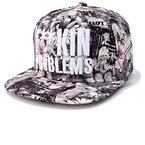 Kenmont hohe Art und Weise Hip-Hop Blume Baseballmützen Baseball Caps für Mädchen Frauen Damen(Graue Blumen)
