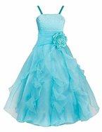 YiZYiF Blumenmädchen Kleid Kinder Mädchen Kleid Festlich Brautjungfer Hochzeit Party Kleid Organza Festzug 92-164 Himmelblau 140
