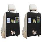 Zuoao 2 Stück Rücksitz-Organizer mit 2 Großen Taschen, Auto Rückenlehnenschutz für Kinder mit iPad Tablet Halter, Autositz Schutzmatte wasserdicht,Kick-Matten-Schutz in universeller Passform Schwarz ...