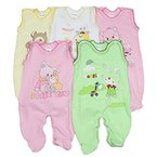 5er Set Baby Strampler 100% Baumwolle Babystrampler Strampelanzug Junge Mädchen, Farbe: Mädchen, Größe: 68