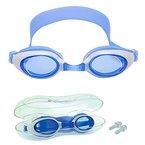 Kinder Schwimmbrille mit Ohrenstöpsel & HOCHWERTIGEM Schutzetui - von Bezzee Pro - Antibeschlagbeschichtung - Wasserdicht - Verstellbar - Alter 4 bis 10 Jahre, 100% Geld-zurück-Garantie (Blau)