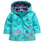Tres Chic Mailanda Kinder Maedchen Regenjacke Regenmantel mit Kapuze Blau Groesse 110 3-4 Jahre