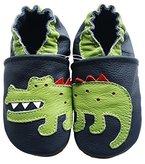 Carozoo Crocodile Dark Blue 3-4 Y Weiche Sohle Leder Krabbelschuhe