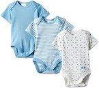 Twins Baby - Jungen Kurzarm-Body im 3er Pack mit zartem Print, Mehrfarbig, Gr. 92, Blau (baby blue)