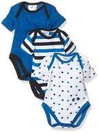 Twins Baby - Jungen kurzarm Body im 3er Pack, Mehrfarbig (Weiss/Marine 810012), 92