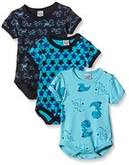 Care Baby - Jungen Kurzarm-Body im 3er Pack, All over print, Gr. 86, Blau (Dark Navy 778)
