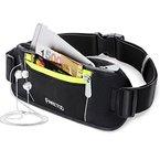 [Sport Hüfttasche] FREETOO Gürteltasche flache und enganliegende Bauchtasche mit Kopfhöreröffnung für Handy bis 5.5Zoll - für Reise und Sport entwickelt, schwarz  Unisex