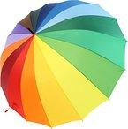 iX-brella Regenschirm XXL Regenbogen 129 cm - leicht bunt groß mit Softgriff