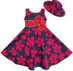 Mädchen Kleid 2 Pecs Sonnenhut Bogen Binden Blume Sommer Strand Gr.128-134