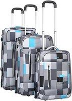 Trolley - Koffer PURE Karo - blau/grau 3-teiliges Set