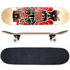 FunTomia® Skateboard mit ABEC-11 Kugellager und Rillen-Profil Rollen (Rollenhärte 100A) aus 100% 7-lagigem kanadischem Ahornholz (Es stehen verschiedene Farbdesigns zur auswahl) (Route66)
