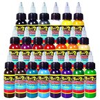 Solong Tattoo® 21 Grundfarben Tattoofarbe Set Pigment Kit Profi 1oz (30ml) für Tattoo Maschine Set TI301-30-21