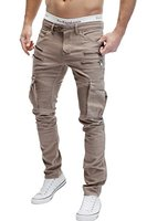 MERISH Herren Bikerchino Jeanshose Denim Chino Zipper BeintaschenTrend Jeans Hose Neu J2055 Beige W33