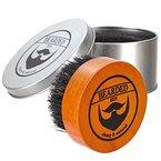 Bearded Ben Baardborstel met varkernshaas, in hoogwaardige opbergdoos, voor de professionele barbier, teakbruin, diameter 5 cm