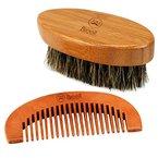 Breett Bartbürste & Bartkamm, Set für Bart-Styling, Bartkamm-Set für Herrenbart und Schnurrbart mit Aufbewahrungstasche