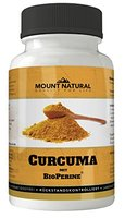 Mount Natural Curcuma Kapseln hochdosiert mit Bio Kurkuma-Pulver + Curcumin Extrakt und Bioperine Piperin, laborgeprüfte Qualität, 90 vegane, leicht zu schluckende Kapseln