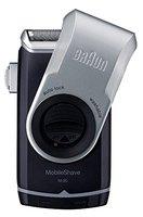Braun MobileShave M-90 Elektrischer Rasierer (vollständig abwaschbarer Rasierapparat, Elektrorasierer für unterwegs) silber/blau