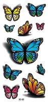 3D Schmetterlinge Fake Tattoo Flash Tattoo Aufkleber Schmuck Tattoo 3D-30 viele Schmetterlinge auf ein Blatt