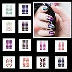 14 Bögen 14x Nagel - Fuß Folie 15 verschiedene Muster Nagelfolie Aufkleber Nail Foil Nail Art Stripes FN-Set