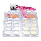Fashion Galerie Nagel Design Set künstliche Fingelnägel Tipkasten Tipcutter Kit Nagelkleber falsche Nägel Set weiß naturfarbe Fingernägel