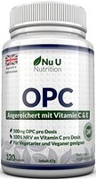 OPC Traubenkernextrakt - 120 OPC-Kapseln (3 Monatsvorrat) - OPC hochdosierte 500mg pro Portion OPC-Kapseln mit zusätzlichem Vitamin C & E - Für Vegetarier & Veganer geeignet