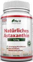 Astaxanthin 12 mg - 180 Softgel-Kapseln (6 Monatsvorrat) - Hochgradiges Astaxanthin von Nu U Nutrition
