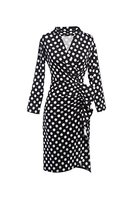 Damen Vintage 1950er Jahre Polka Dot MIDI-Wickelkleid Black M