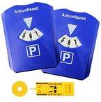 2-er Set Parkscheibe mit Eiskratzer, Parkuhr fürs Auto mit Einkaufswagenchip, Reifen-Profilmesser, Kunststoff, Blau, M&H-24