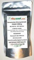 250 Tabletten Koreanischer Ginseng - PANAX Extrakt entspricht 1300mg Pulver PRO TABLETTE - HOCHDOSIERT - PN: 010257