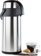 Andrew James - 5 Liter Edelstahl Thermos Pumpkanne Isolierkanne - Ideal für alle Heiß- und Kaltgetränke