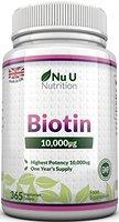 Biotin Haarwuchs-ERGÄNZUNGSMITTEL, 365 Tabletten (VERSORGUNG FÜR EIN GANZES JAHR) von Nu U Nutrition
