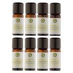 Ätherisches Öl Set - 100% naturreine Öle von greenstyle - Teebaum, Lavendel, Zitrone, Orange, Sandelholz, Zeder, Bergamotte, Patchouli - (8x10ml)