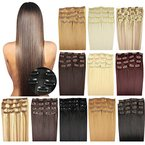 OUBO Clip in Extensions Haarteile für eine komplette ganzen Kopf Haarverlängerung Haarverdichtung glatt 135g 145g hochwertiges dickes Haar 7 Tressen 16 Clips 45cm 55cm Top -24# Mittelblond, 55cm