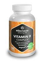 Vitamin B-Complex hochdosiert vegan 6 Monatsvorrat Vitamin B1, B2, B3, B5, B6, B7, B9, B12 Made-in-Germany ohne Magnesiumstearat, 100% GELD-ZURÜCK-GARANTIE