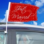 """2 Auto-Flaggen * GROSSE LIEBE * für Hochzeit und Valentinstag // mit Aufschrift """"Just Married"""" // Party Car Window Flag Autofenster Decoration Deko Dekoration Motto Vermählung Trauung Herz rot"""